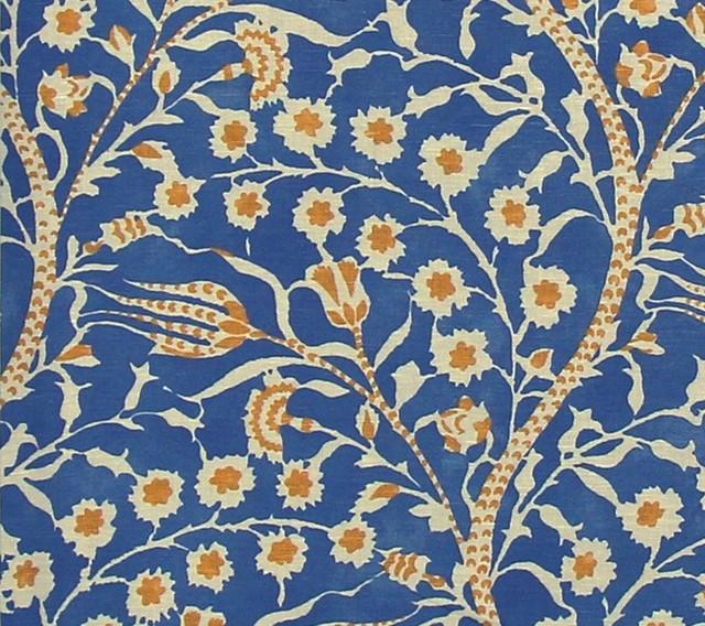Clarence House Fabric Blue Batik Mid