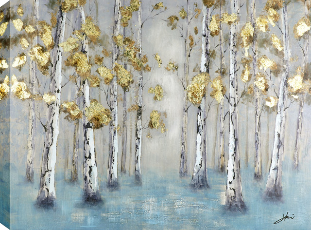 "Golden Forest I Acrylic Painting On Canvas, 29.5""x39""."