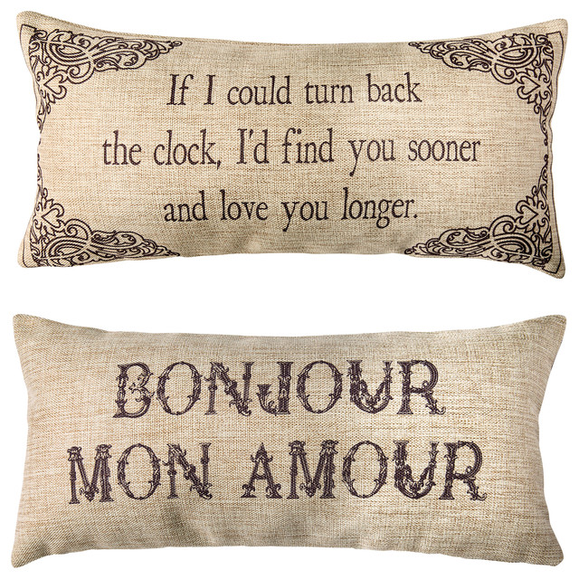 Bon Jour Mon Amour French Double Sided Romantic Pillow Wedding Gift Anniversary