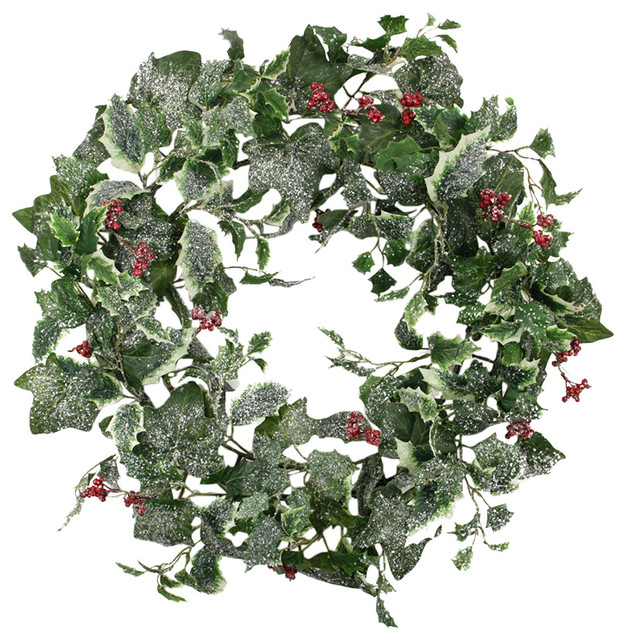 """24"""" Frosted Holly Berry And Ivy Artificial Christmas Wreath, Unlit."""