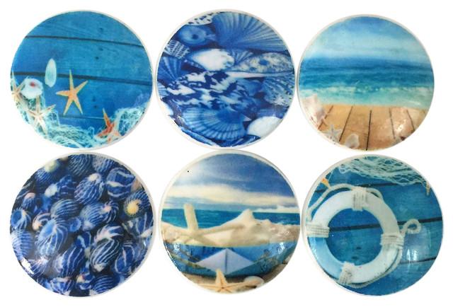 Charmant 6 Piece Set Deep Blue Beach Cabinet Knobs
