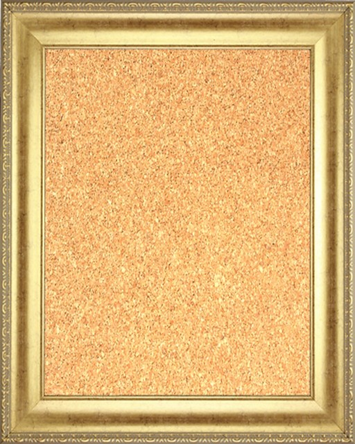 Framed Cork Board With Gold Finish Frame With Ornate Design On Edge