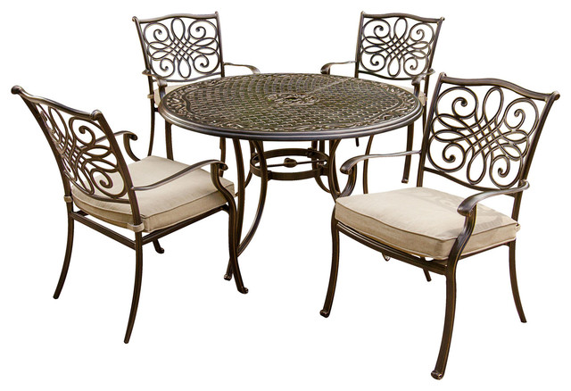 c3a7c9378f Traditions 5 Pc. Dining Set of 4 Aluminum Cast Chairs, 48