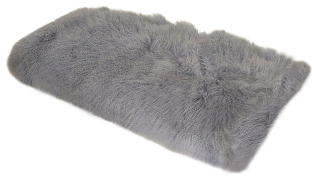 Curly Fur Imports Tibetan Mongolian Lamb Fur Throw Grey
