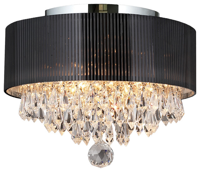Gatsby 3 Light Chrome Finish Crystal Flush Mount Ceiling Light Black Drum Shade.