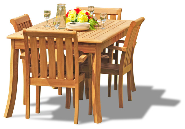 "5-Piece Outdoor Teak Dining Set - 60"" Rectangle Table, 4 Somer Stacking Chairs"