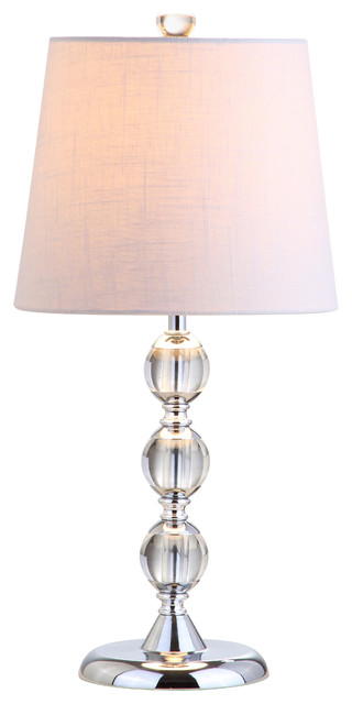"Hudson 20"" Crystal Mini Table Lamp, Chrome."