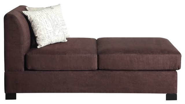 Chaise With 2 Pillows In Choco Brown.