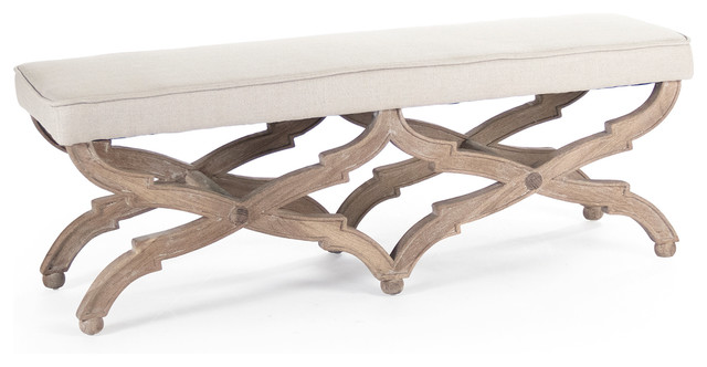 Attrayant French Country Limed Gray Oak Long Dining End Of Bed Bench