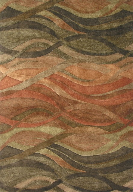 Abstract Waves Rug, Desert Rust And Green, 5u0027x8u0027 Contemporary Area