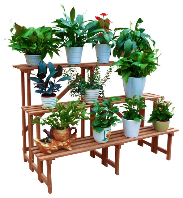 Large 3 Tier Step Plant Stand Transitional Planter Hardware And Accessories By Leisure Season Ltd Houzz