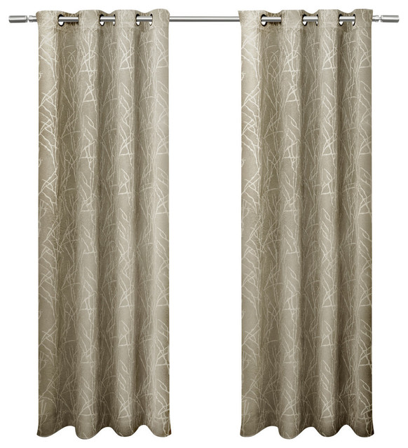 Twig Insulated Blackout Grommet Top Window Curtain Panel Pair, 54x108, Taupe.