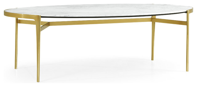 Oval Antique Satin Gold Brass Dining Table Midcentury Dining Tables By Jonathan Charles Fine Furniture
