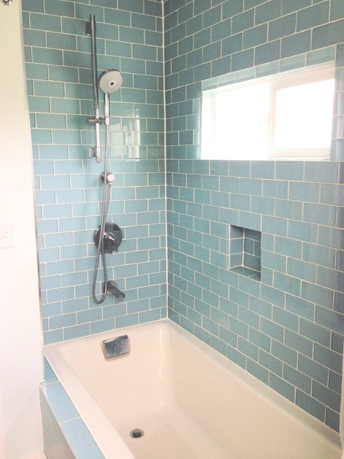 What bathroom tile to use to complement glass color tile in shower