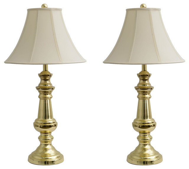 Touch Control Polished Brass Table Lamps, Set Of 2