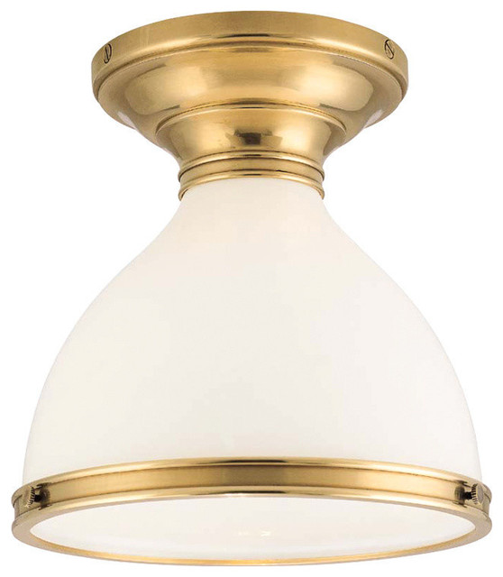Randolph Collection One Light Flush Mount Aged Brass.