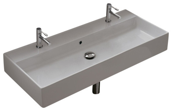 Rectangular White Ceramic Wall Mounted Or Vessel Sink Modern