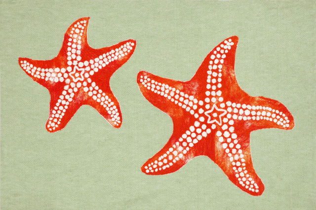 Trans Ocean Visions Iii Star Fish Green Area Rug By Liora Manne.