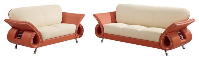 U559 Beige & Orange Top Grain Leather Three Piece Sofa Set