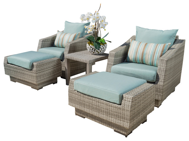 Marvelous Cannes 5 Piece Club Chair And Ottoman Set, Bliss Blue Contemporary Outdoor