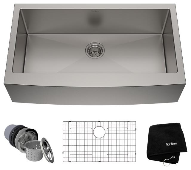 "36"" Farmhouse Apron Stainless Steel Kitchen Sink, Single Bowl 16 Gauge"