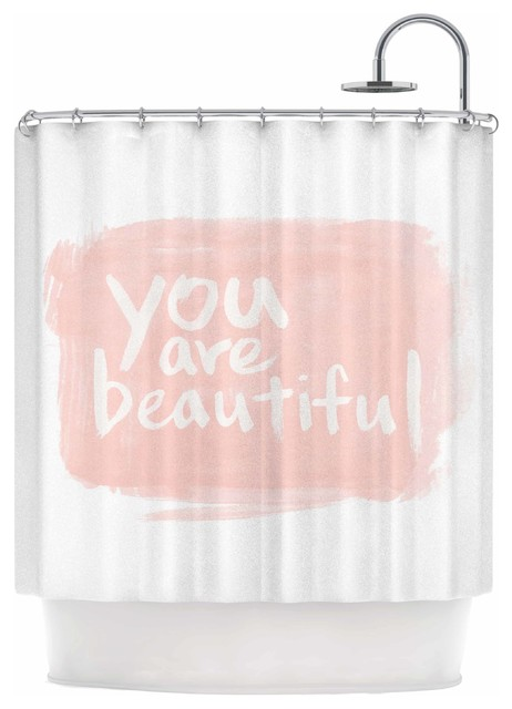 KESS InHouse Qing Ji Brush Lettering Beautiful Peach White Shower Curtain