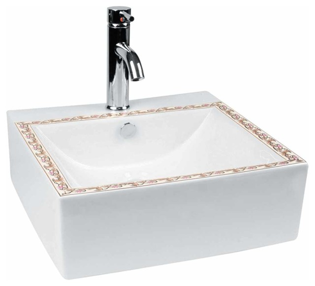 White Bathroom Vessel Sink Painted With Single Faucet Hole Pop Up Drain.