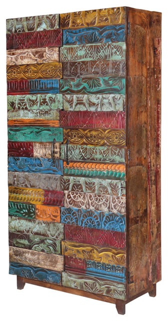 Rainbow 67 Conch Carving Wooden Tile Reclaimed Wood Armoire.