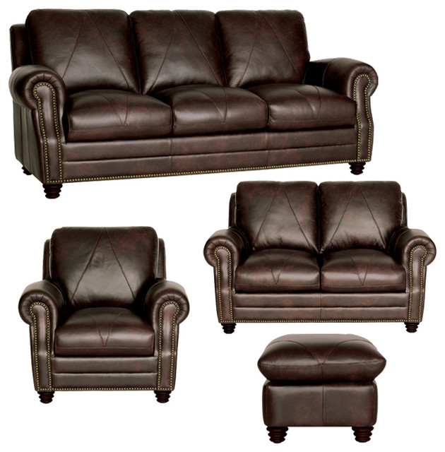 Genuine Italian Leather Sofa,Loveseat, Chair And Ottoman In Chocolate Brown  Traditional Living