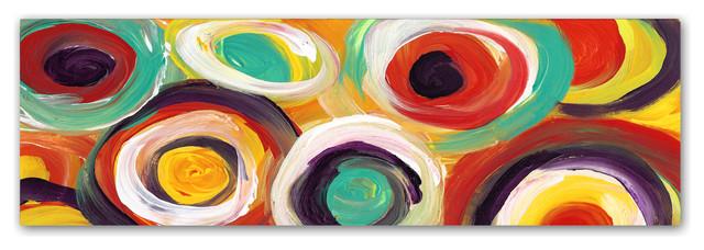 &x27;bright Bold Circles Panoramic&x27; Canvas Art, 19x6.