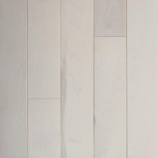 "4"" Maple Prestige Solid Hardwood Flooring, Aspen White."
