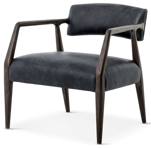 Good Delavan Modern Classic Black Leather Oak Armchair  Midcentury Armchairs And Accent Chairs