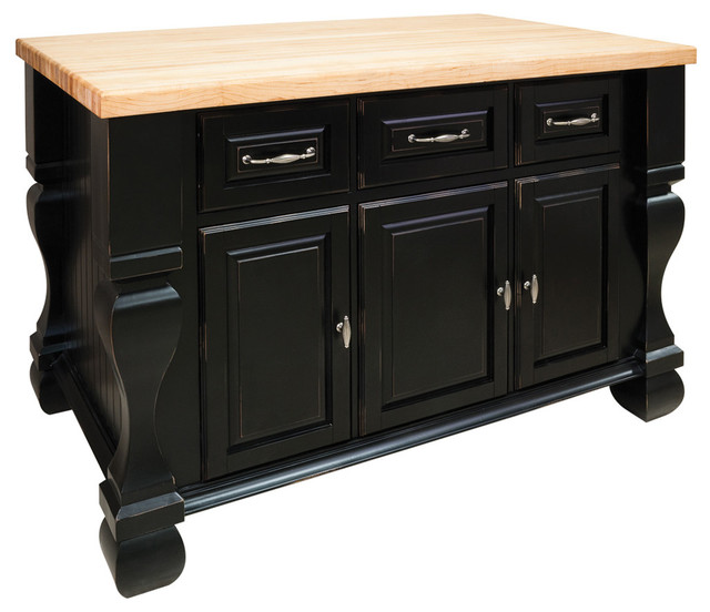 Jeffrey Alexander Kitchen Island Distressed Black Traditional