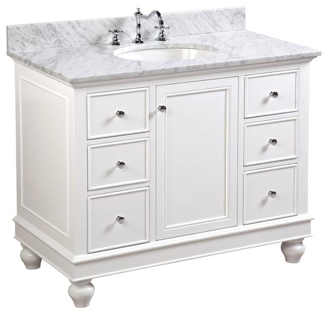 Bella Bath Vanity, Base: White, 42, Top: Carrara Marble.