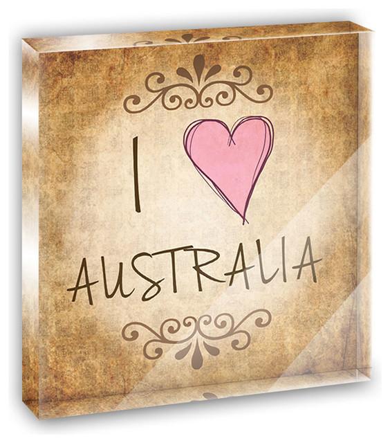 I Heart Love Australia Vintage Mini Desk Plaque and Paperweight contemporary-decorative-accents