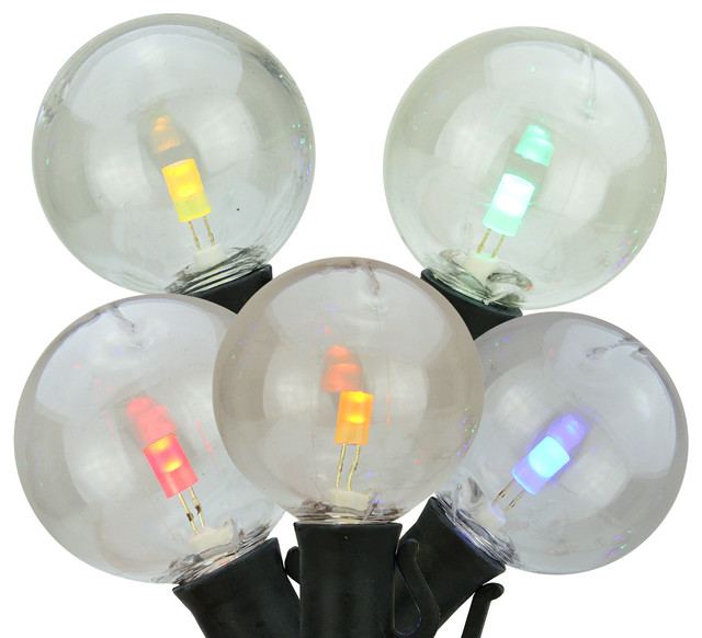 set of 25 multi color led g40 patio or christmas lights 8 spacing