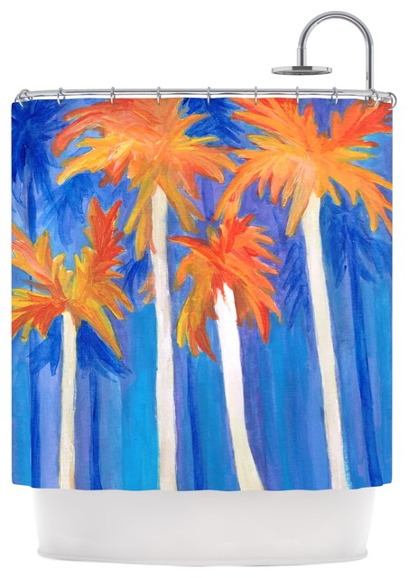 Rosie Brown Florida Autumn Blue Orange Shower Curtain