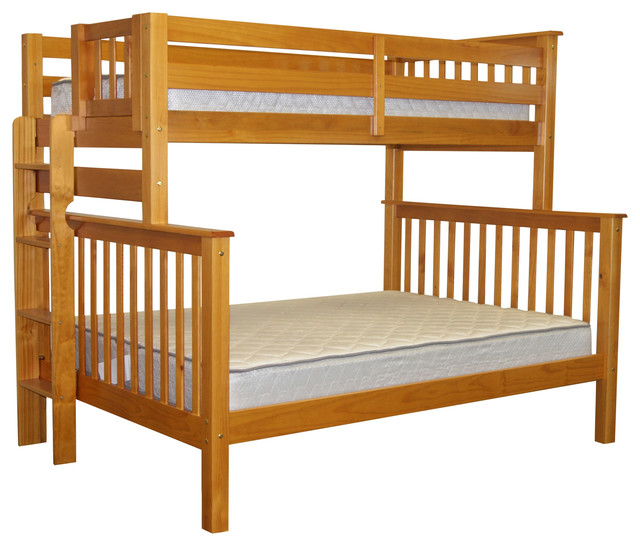 Bedz King Bunk Beds Twin Over Full End Ladder Honey Quality Transitional