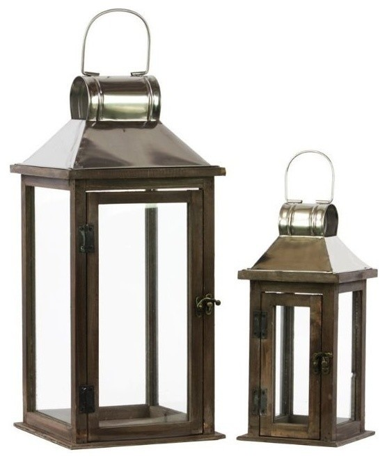 Square Wood And Metal Lanterns 2 Piece Set Traditional Candleholders By Virventures