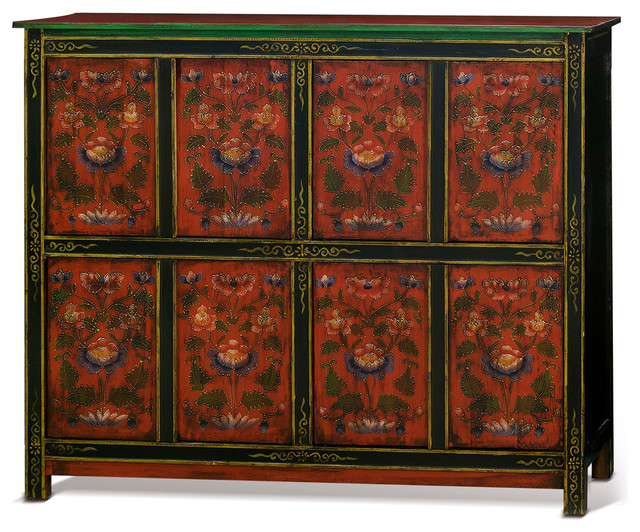 Hand Painted Tibetan Cabinet Asian Accent Chests And