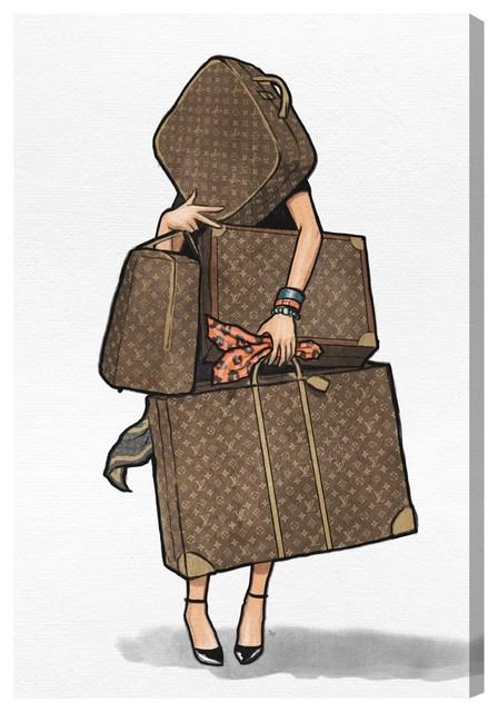 Bags, Bags, Bags- Orange Canvas Art, 16x24.