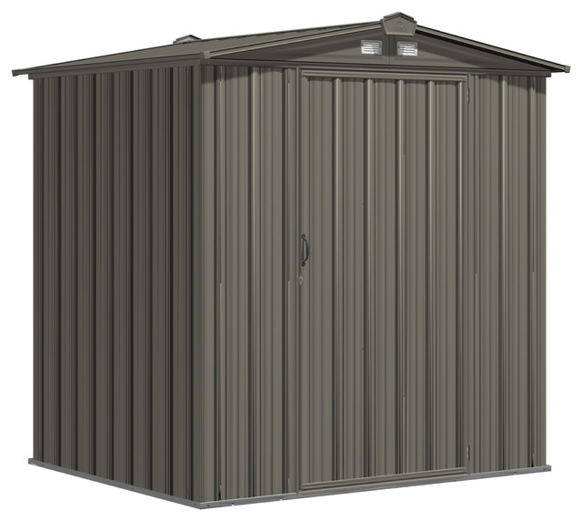 "Ezee Shed, 6&x27;x5&x27;, Low Gable, 65"" Walls, Vents, Charcoal And Cream."