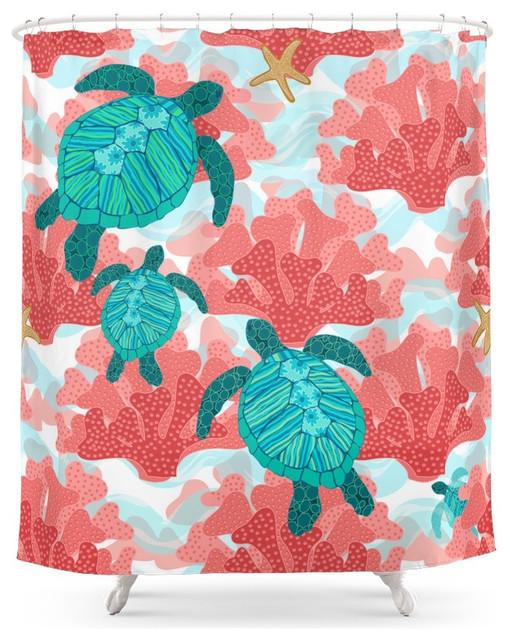 Society6 Sea Turtles in The Coral, Ocean Beach Marine Shower ...