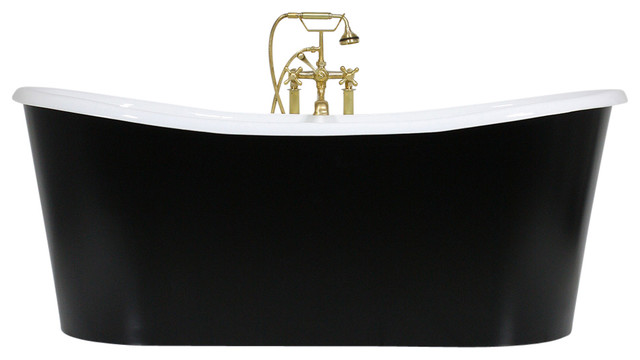 The Whitland&x27; Cast Iron French Bateau Tub With Drain, 59 Length.