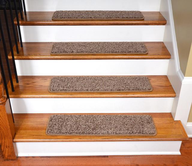 Tape Free Non Slip DIY Carpet Stair Treads Set Of 15 Brown
