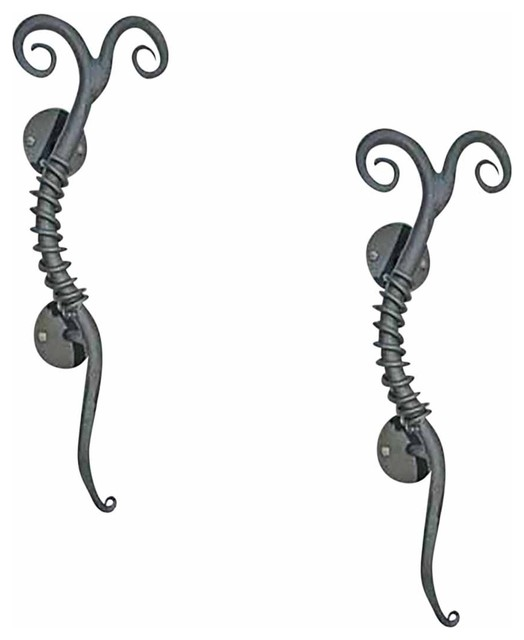 2 Twisted Wrought Iron Gate Or Door Pulls Rustproof - Traditional - Cabinet And Drawer Handle ...