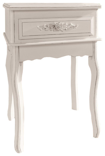 In Stock Antique White Shabby Chic Wood Console Table With Rosebuds Traditional Tables By Pier Surplus Houzz - Antique White Console Table With Storage