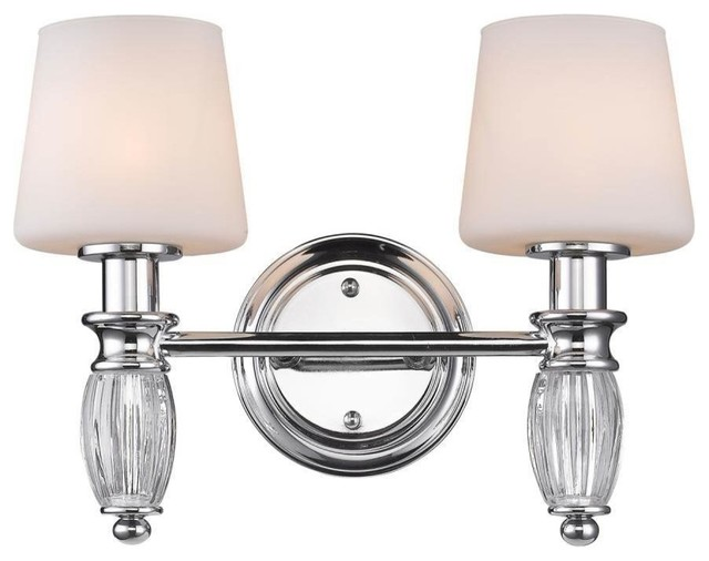 Golden 2 Light Bath Vanity Chrome Transitional Bathroom Vanity Lighting By Lighting And Locks