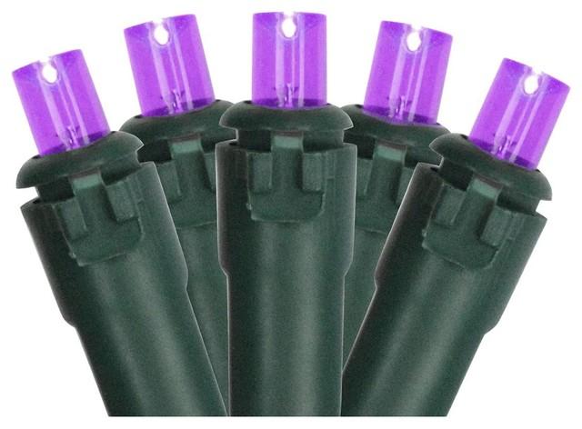 Purple Led Wide Angle Christmas Lights -Green Wire.