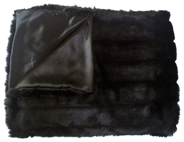 "Mink Faux Fur Animal Skin Throw Blanket, Black White, 5""x6""."